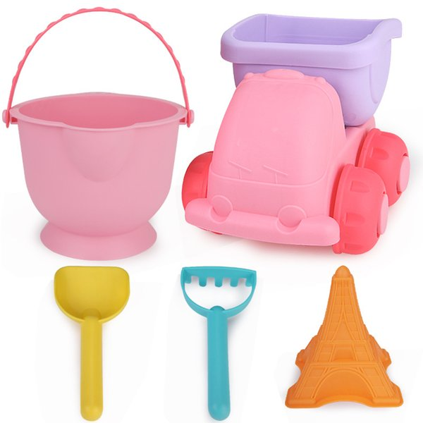 5 Pieces Kids Beach Tool Toy Set Soft Rubber Plastic Sand Digging Fun Playing Bucket Shovel Pretend Play Toys 12 32xs WW
