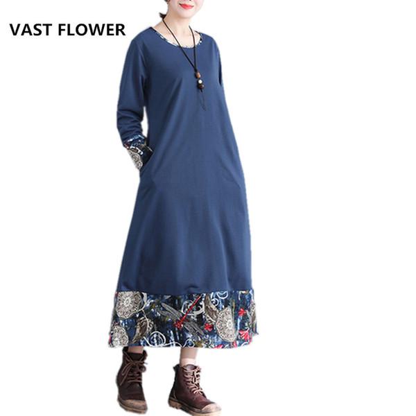 fashion cotton linen plus size vintage print clothes women casual loose long spring autumn dress vestidos 2018 dresses