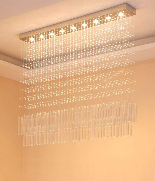 LED 3 Brightness Clear K9 Crystal Chrome Stainless Steel Chandeliers Ceiling Lights Fixture Lamp Chandelier Pendant Lights Crystal Lights