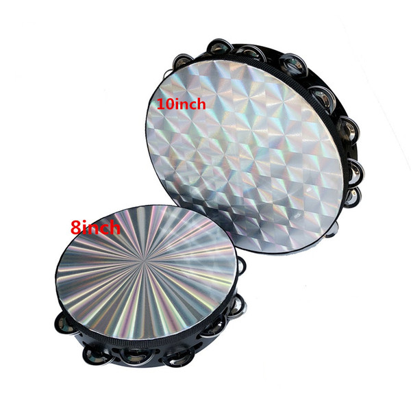 top popular 8inch Tambourine Reflective Laser Patern, 10inch checkered Design Double Row Jingles 2020