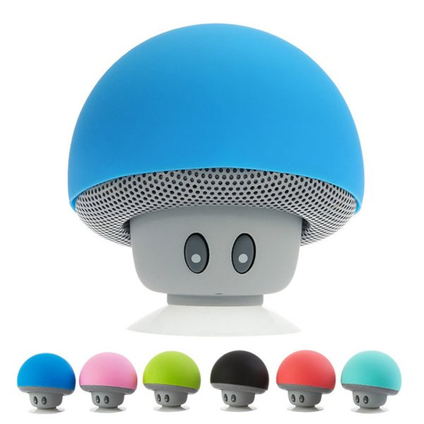 Christmas Mini Mushroom Speakers Cell Phone Holder Subwoofers Bluetooth Wireless Speaker For cell phone Silicone Suction Cup Tablet PC Stand