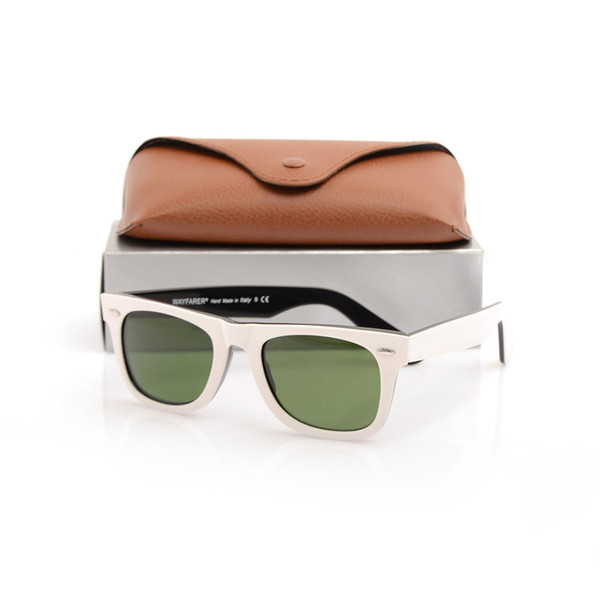 Beautiful Plank black and white Sunglasses High Quality glass Lens Green Lens Sunglasses mens womens beach sunglasses with brown cases boxs