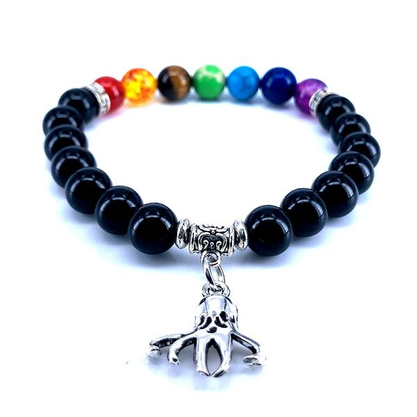 7 Chakra Bracelet Men Black Obsidian Bead Bracelet Mermaid Starfish Conch Sea Life Charm Bracelet for Women Jewelry 2018 B18096