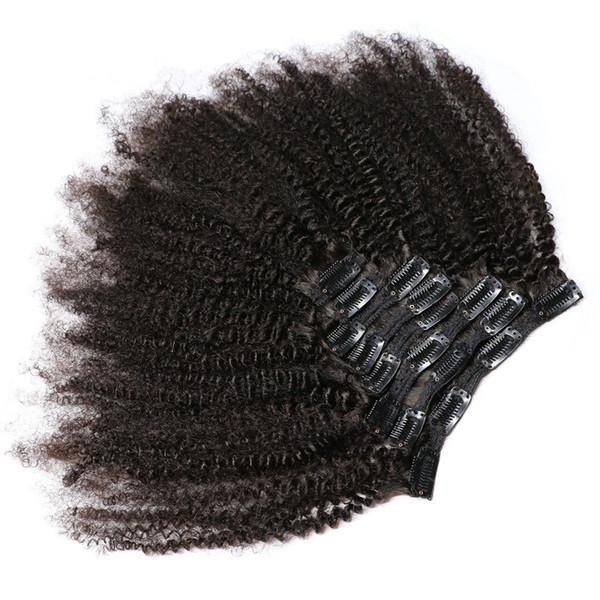 İnsan Saç Uzantıları Afro Kinky Kıvırcık Klip Doğal Siyah Tam Başkanı Brezilyalı Remy Saç Klip ins Ücretsiz Kargo