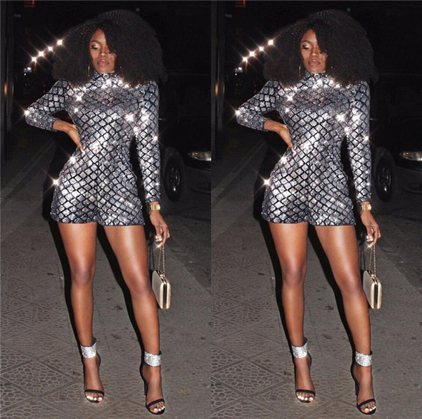 2018 fashion sequin jumpsuits women playsuit slim short summer sexy rompers jumpsuit long sleeve nightclub romper free shipping