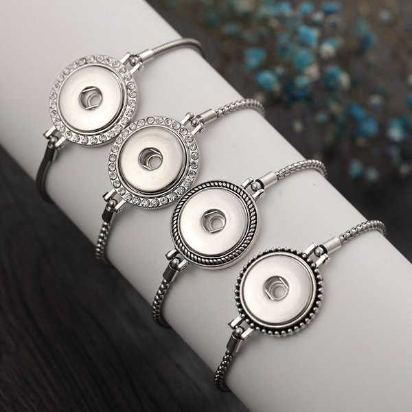 Wholesale Noosa Chunk Jewelry Interchangeable Snap Bracelets Crystal Silver Chain 18mm Snap Button Bracelet Bangles