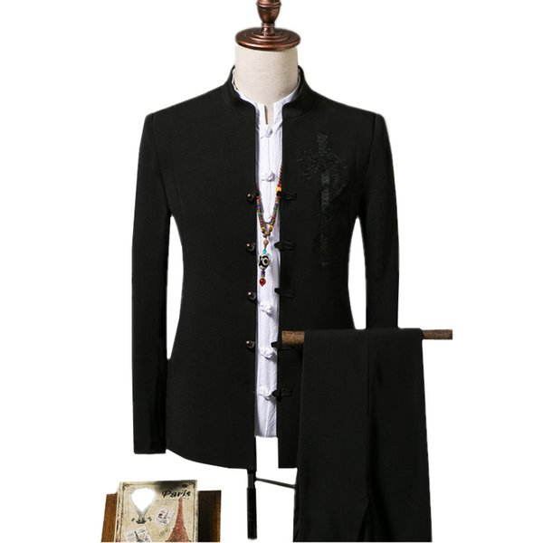 Chinese Style Men's Embroidered Suit Jacket and Drawstring Pants Size S-4XL Slim Suitable for Teenagers Fashion Casual Blazer