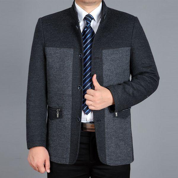 business coats pea coat overcoats long jackets men woolen jacket 2018 winter casual long plus size grey cashmere leisure trench