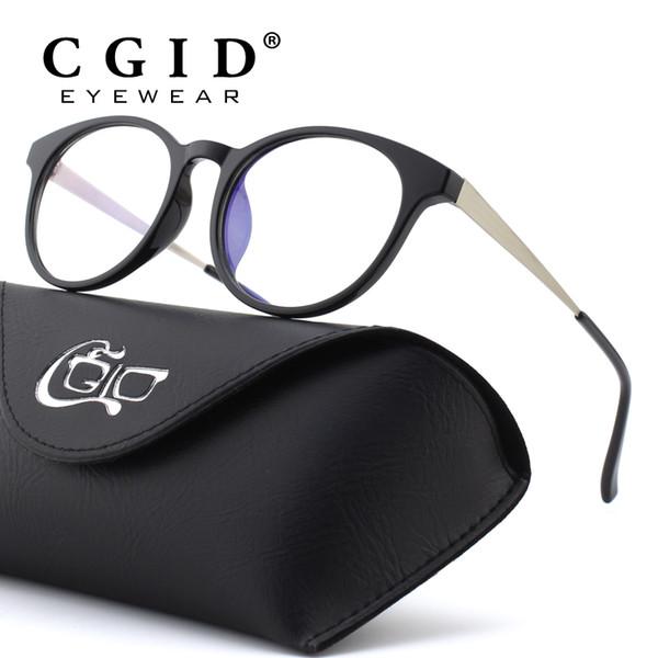 CGID TR90 Computer Glasses Anti Blue Light Radiation Optical Print Glasses Round Black Eyewear Frame PC Glass Men & Women CT28