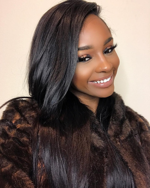 best selling Brazilian Peruvian Indian Straight unprocessed Human Hair 4 Bundles With Lace Front Closure 13*4 Free Part with Baby Hair Natural Color