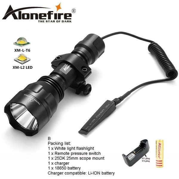 AloneFire C8s CREE XM-L2 LED 5-Mode Tactical flashlight 18650 light flashlight LED Lamp Torchlight hunting for 1x 18650 battery