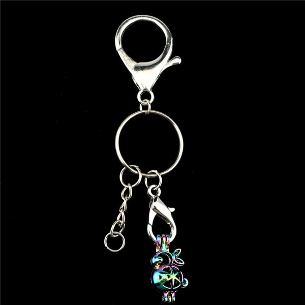 Y-C71 Metal Keychains Rainbow Cartoon Rabbit Beads Cage Lobster Clasps Key Rings DIY Jewelry Making chaveiro