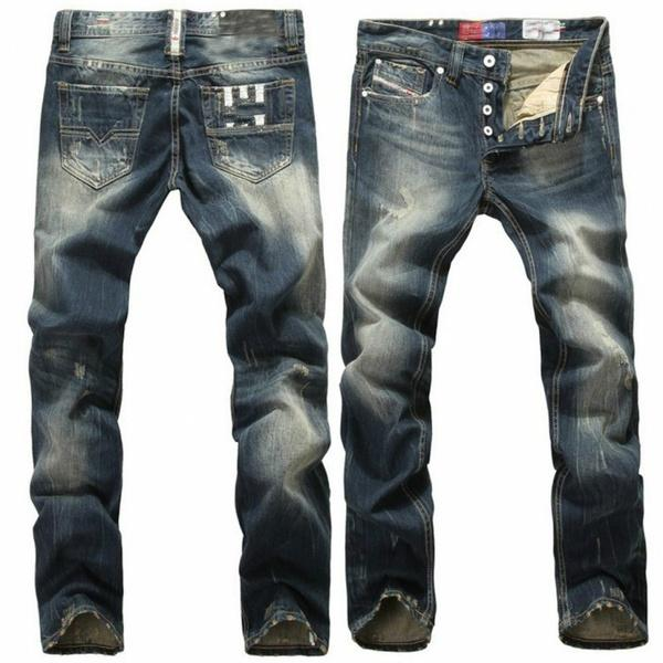 2017 Blue Jeans Men Straight Denim Jeans Trousers Plus Size 28-40 High Quality Cotton Button Mens Jeans