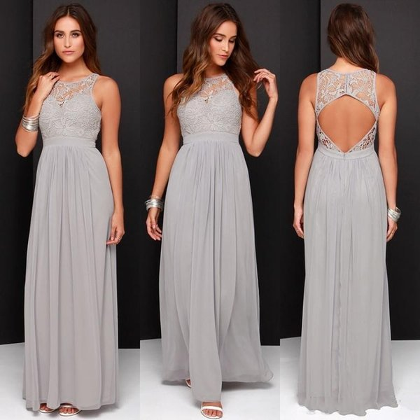2018 Country Cheap Grey Bridesmaid Dresses for Wedding Long Chiffon A-Line Backless Formal Dresses Party Lace Modest Maid Of Honor Dress