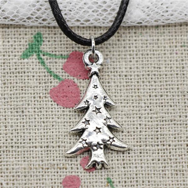 Creative Fashion Antique Silver Pendant the christmas tree 28*14mm Necklace Choker Charm Black Leather Cord Handmade Jewlery