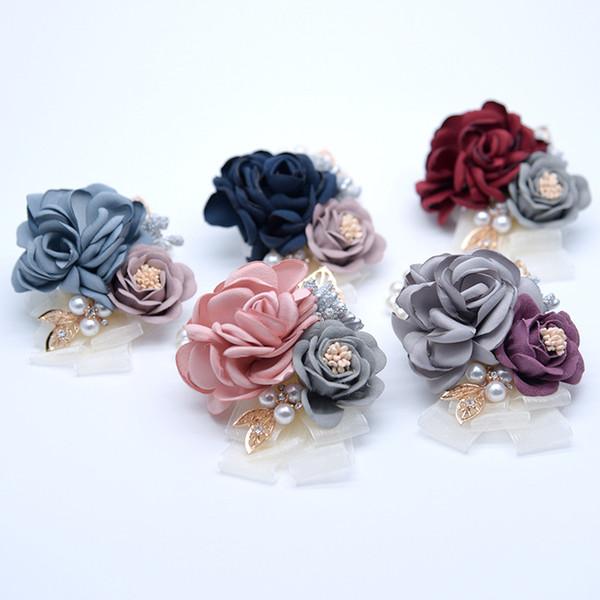 Hochzeitssträuße für Bräute / Blumenmädchen Handgelenk Blumen Blumenbrosche Handstrauß für Brautjungfer Hochzeit Accessary Handgelenk Corsage 7cm