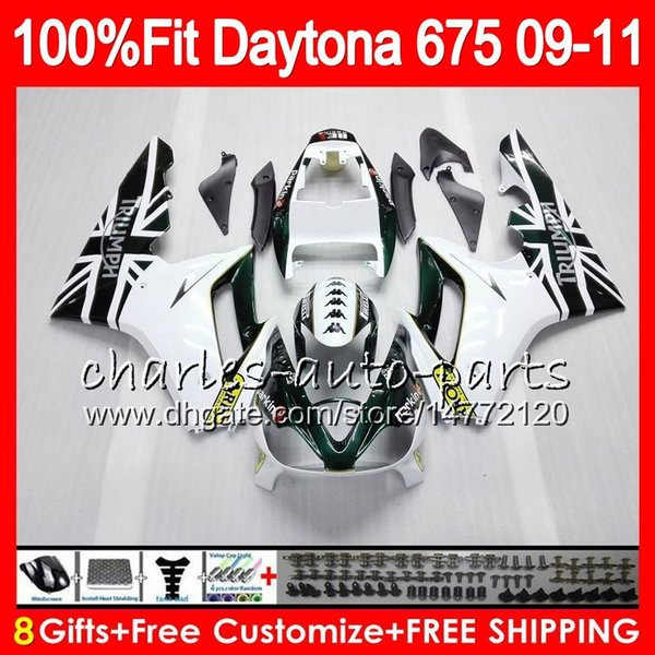 Injection For Triumph Bodywork Daytona 675 2009 2010 2011 2012 white green 107HM.64 Daytona 675 09 10 11 12 Daytona-675 Daytona675 Fairing