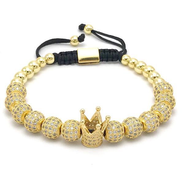 New Design Women Fashion Imperial Crown Bracelet with 8mm Gold-color Micro Pave Women Braiding Macrame Bracelet