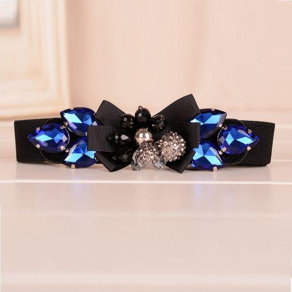 Blue Elastic Women Belt Rhinestones Stretch Braided Waist Ladies Belt Leather Steel Snaps Femme Ceinture