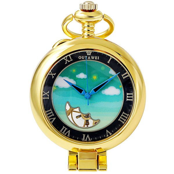 Vintage Mechanical Pocket Watch Gold Blue Sky Steampunk Men Fob Hand Watch Necklace With Chain For Men Women Gift Box