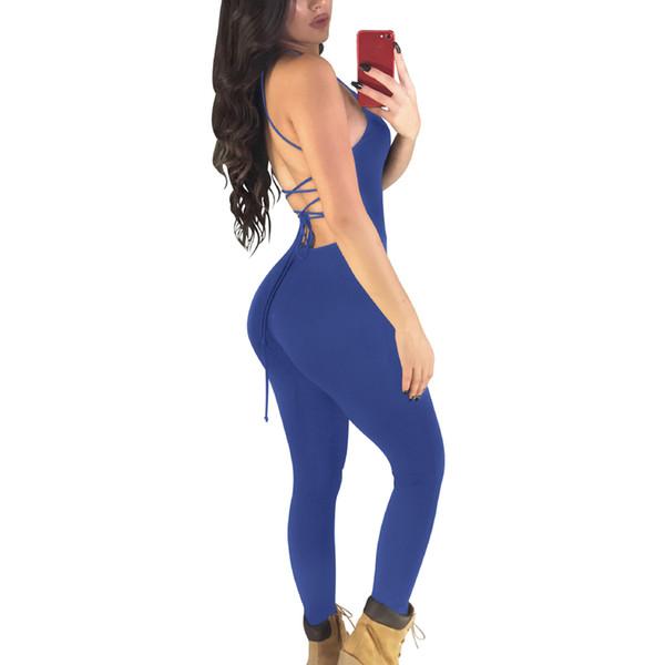 Seksi Backless One Piece Yoga Set Yaz Ince Kadın Playsuit Kolsuz Tulum Kadınlar Tulum Egzersiz Tayt Spor Tayt