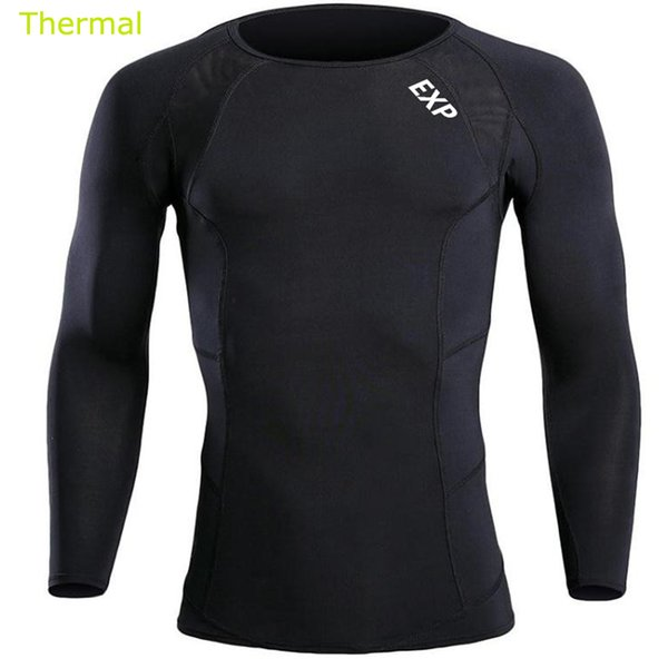 2017 Winter Thermal EXP Male compression Gym Long sleeve T-shirt marathon runners training Workout Stretch Thermo