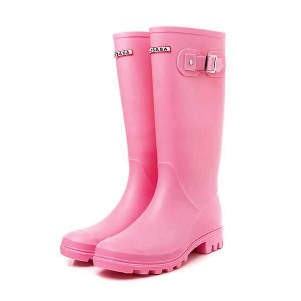 2018 Winter Regen Stiefel Frauen Fetisch High Heels Stiefel Frauen Kniehohe Slip-on Wasserdichte Low Solid Größe 36-40 Mujer Regenstiefel