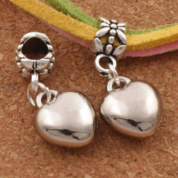 top popular Loving Heart Alloy Big Hole Beads 100pcs lot New Antique Silver Fit European Charm Bracelet MIC 2020