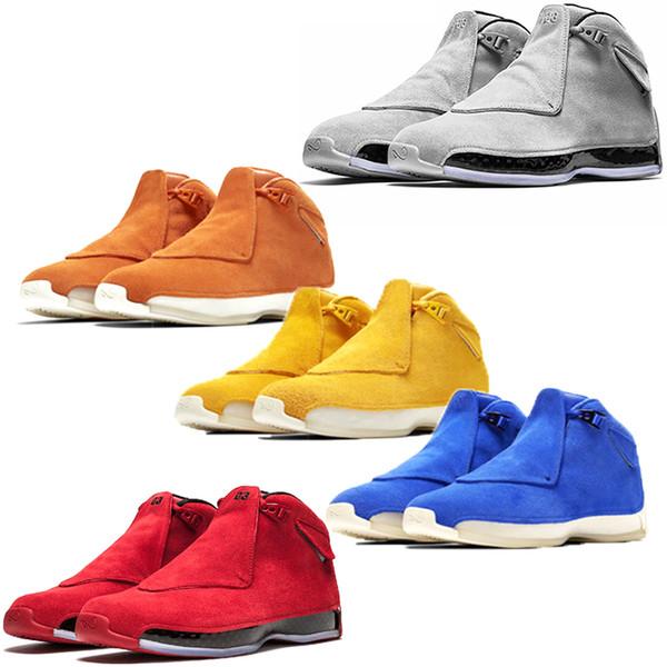 Мужчины 18 18s Toro баскетбол обувь Красный замша желтый оранжевый синий Royal Cool Grey OG CDP