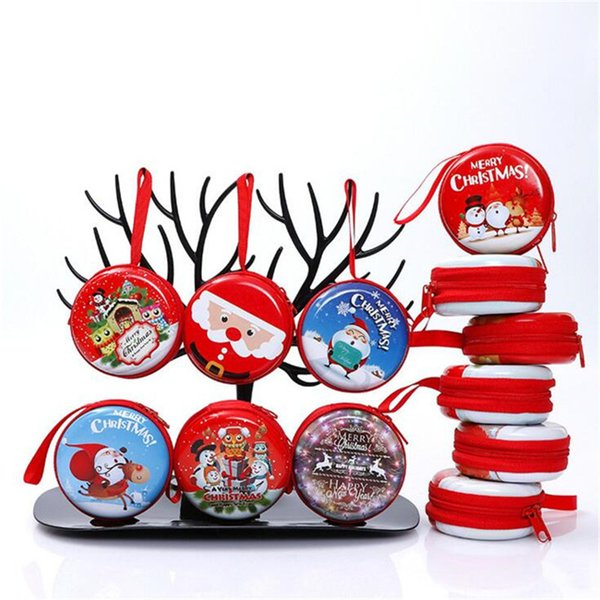 22 Designs Christmas Coin Purse Mini Wallet Candy Key Pouch Holder Headphone Carrying Cases Christmas Tree Ornament Kids Gift