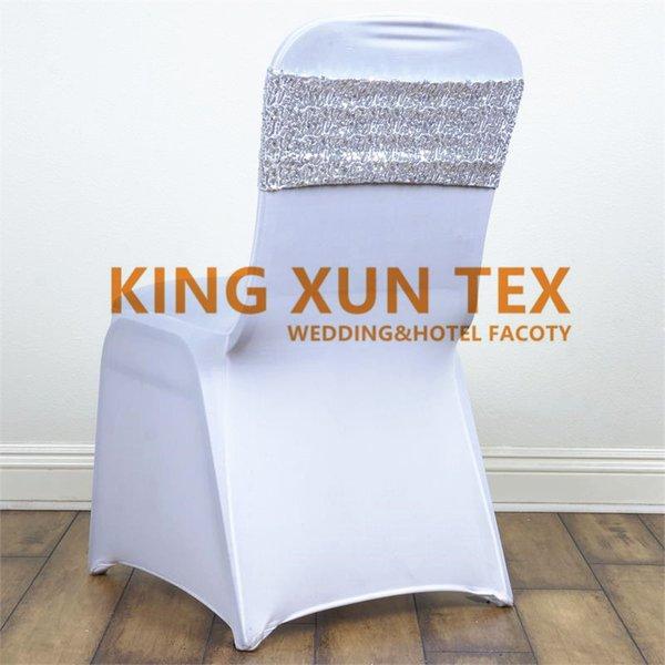 Doble capa de 18 cm de ancho nuevo diseño de la silla de lentejuelas banda / marco de silla para la cubierta de la silla decoración envío gratis