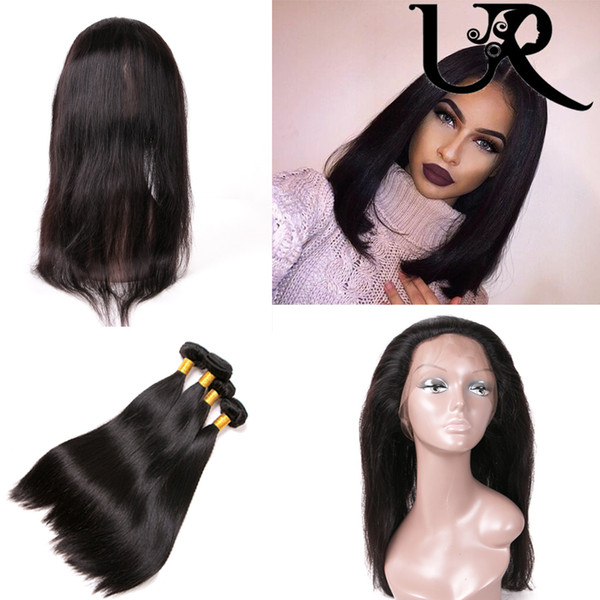 Filipino Straight Virgin Hair Bundle with 360 Frontal Closure 8A Unprocessed Filipino Straight Human Hair Weaves 2pcs with Frontals