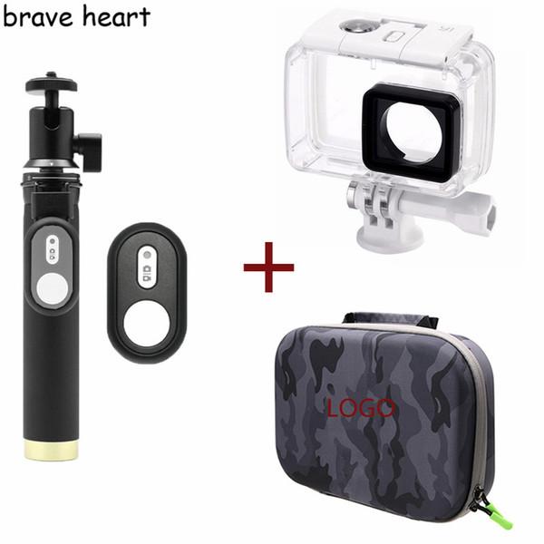 waterproof case + bag + Extendable Monopod tripod selfie stick for xiaomi yi 4K 2 II Xiaoyi action Camera accessories