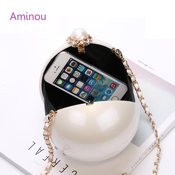 top popular Wholesale- AMINOU Women Round Bag Acrylic Clutch Pearl Purse Handbag Mini Bolsa Redonda Ladies Evening Party Wedding Bags 2019