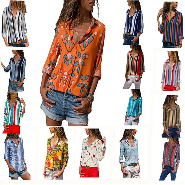Women Blouse Floral/Striped Printed Turn Down Collar Casual V Neck Long Sleeve Plus Size Tops Shirt