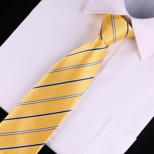 2018 Мужчины Женщины 8см полосатый шелковый галстук свадьба бизнес галстук желтый галстук corbatas cravate Homme для kravatte stropdas залить