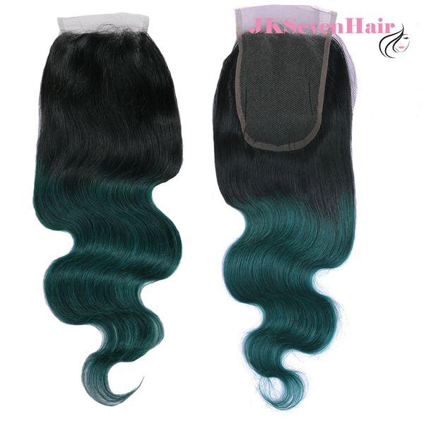 1B Dark Green Body Wave Indian Remy Human Hair 4x4Inch Lace Closure Dark Root Dark Green Malaysian Peruvian Brazilian Free Part Closure