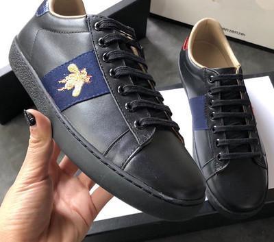Neue Designer Schuhe 100% Ace Leder Sneaker Männer Frauen klassische Trainer Python Tiger Biene Blume bestickt Hahn Liebe Turnschuhe
