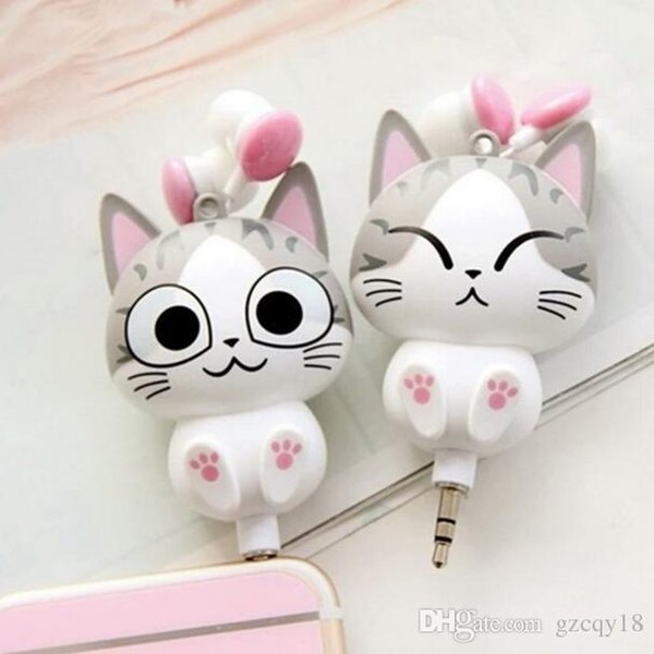 Cheese Cat Cartoon Headphones Auriculares Retráctiles Automáticos para Teléfono Móvil Computadora Cartoon Super Cute Auriculares en la oreja Auriculares