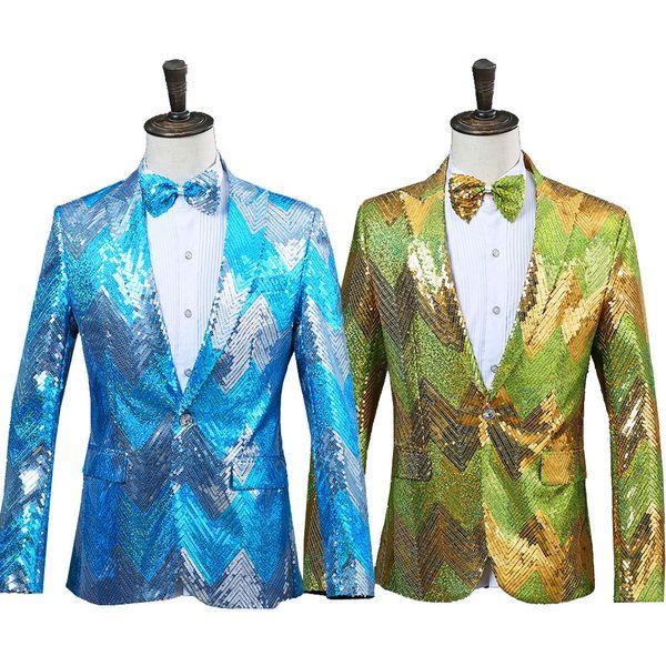 Nouveaux hommes graduel bleu vert paillettes brillant partie DJ chanteur spectacle de scène costume veste mariage bal performance Blazer conception
