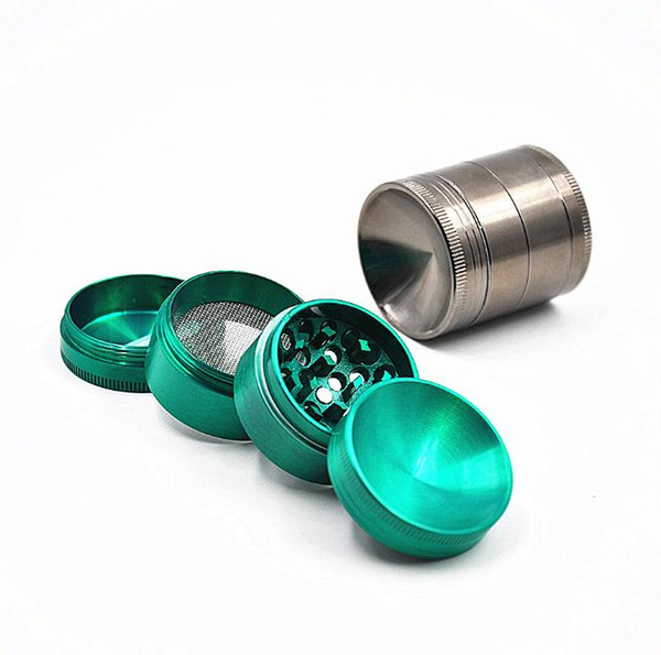 New 4 layer alloy cigarette lighter 40MM personalized creative concave metal grinder smoke cutter