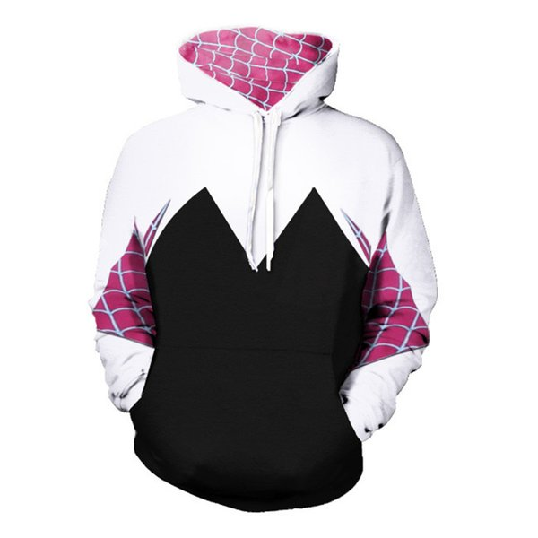 Spider-Man:Homecoming Gwen Hoodie Coat Stacy Cosplay Costume for Halloween Costume for Women Female Spiderman Sweater