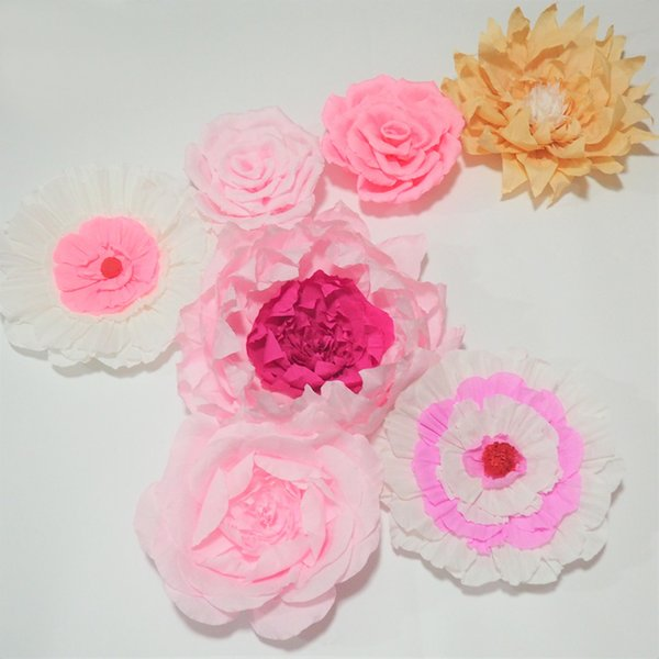 Giant Crepe Paper Flowers 7PCS For Wedding & Event Backdrop Decor Baby Nursery Fashion Show Photography Baby Shower