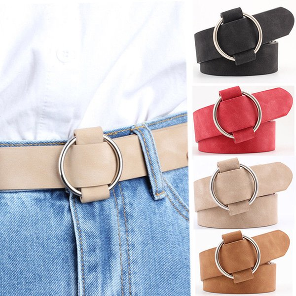 Round buckle design 2018 punk style women Belts PU Suede leather Woman black pink wide waist Belts jeans clothing decorations