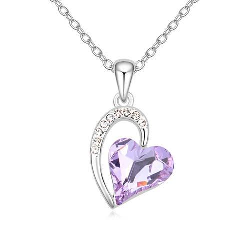 Pink love heart pendant necklace with Crystals from Swarovski fashion jewelry for women girls Christmas gift 2018