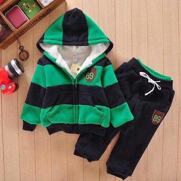 Kış Rahat Erkek Spor Takımları Kalın Yün Çocuklar Kızlar için Çizgili Hodded Pantolon Pantolon Eşofman 2 adet Çocuk Takım Elbise Çocuklar Bez