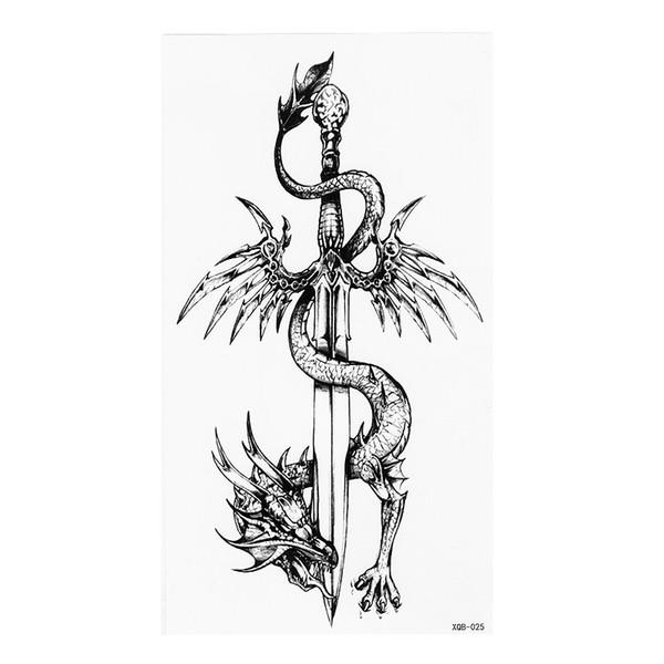 Acheter Dragon Chinois Totem Et épée Noir Blanc Grande Fleur Tatouage Temporaire Au Henné Noir Mehndi Style Autocollant De Tatouage étanche De 3489