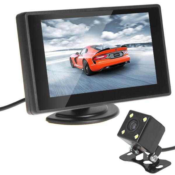 Freeshipping CAR HORIZON 480 x 272 4.3 Inch Color TFT Car Monitor + 420 TV Lines Night Vision Camera with 170 Degrees Wide Angle Lens