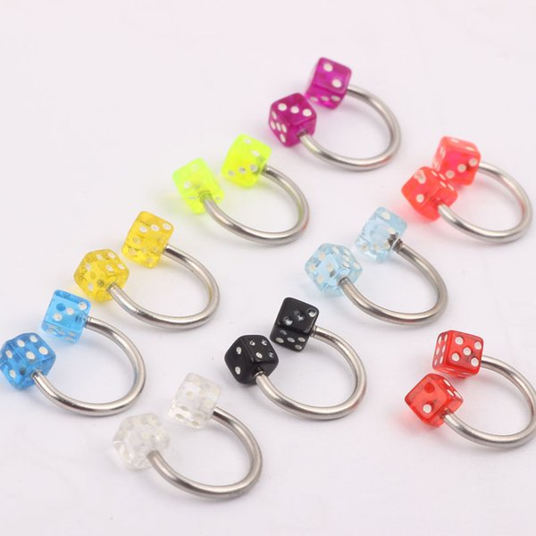JK Piercing Jewelry 16g Stainlessl Steel Bar Acrylic Dice Ball Mix 8 Colors 100pC/lot Nose Ring Lip Hoop Stud Body Jewelry