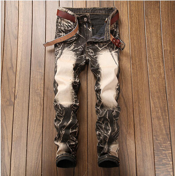 Os Recém-chegados Jeans Homens Marca de Qualidade de Negócios Ocasional Masculino Denim Calças Retas Slim Fit Calças Dos Homens Azuis Escuros Yong Man